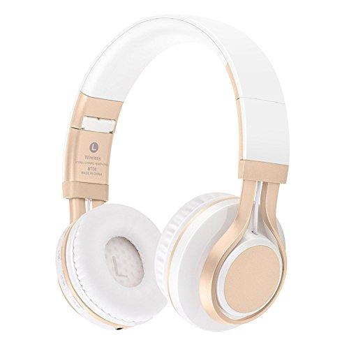 Preisvergleich Produktbild KINGCOO Bluetooth Kopfhörer Over-Ear,  Faltbar Drahtlose Kopfhörer Verdrahtete Auf Ohr Kopfhörern Headsets mit Mic, TF Karten-Mp3 Spieler FM Radio(Weiß / Gold)