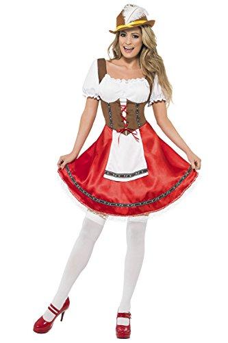 Bayrisches Dirndl-Kostüm - für Damen - Eingenähte Schürze Rot, Braun und Weiß