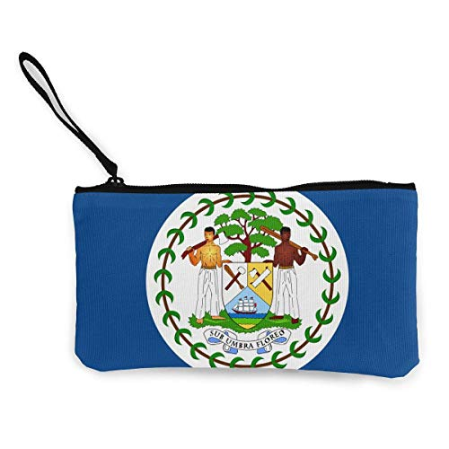 dewdferf Coin Purse Belize Flag Cute Travel Makeup Pencil Pen Case With Handle Cash Canvas Zipper...