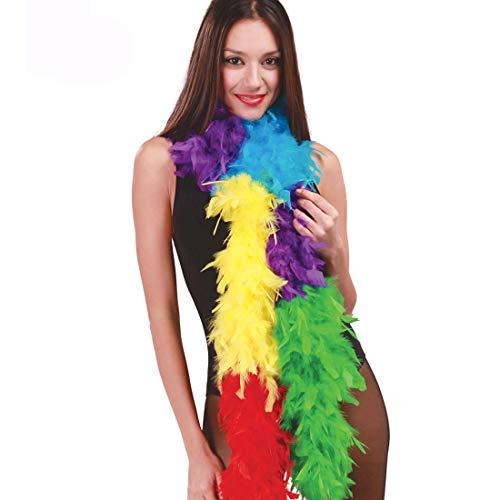 Amakando Farbenfrohe Feder Boa Showgirl für Damen / 1,80m / Originelle Federstola Samba-Tänzerin / EIN Blickfang zu Fasching & Kostümfest