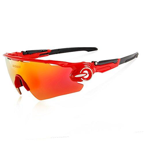 Queshark outdoor occhiali polarizzato sunglasses uv glasses occhio protezione (windproof, dust-proof,anti-shock, anti-sand) per sportivi mtb, bici,ciclismo,trekking casual, hiking, skiing, surfing, shooting (red)