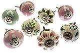 Vintage-Chic Gemischt Set mit Pink, Eau de nil & Grau Schrankknöpfe aus Keramik x 8 (MG-193) TM Produkt