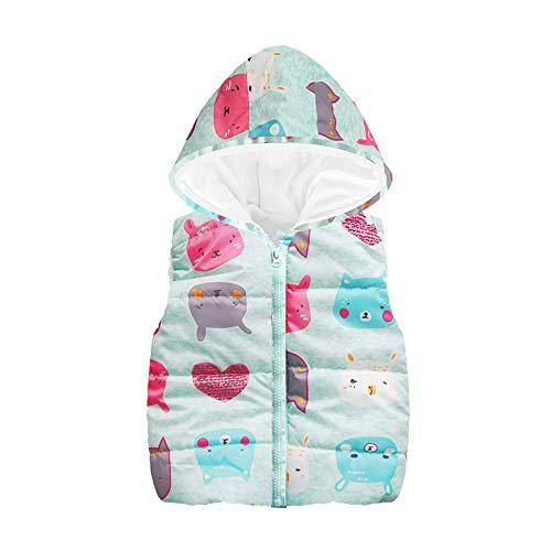 Kinder Kleidung Shopaholic0709 Kleinkind Kinder Unisex (24M-6Y) Sleeveless Cartoon-Katze-Druck-mit Kapuze Reißverschluss-Weste-warme Baumwolljacke der Kinder