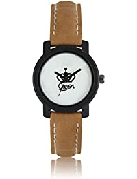 ISmart Queen White Dial Brown Leather Strap Analogue Watch For Women (LOREM 209,Queen)