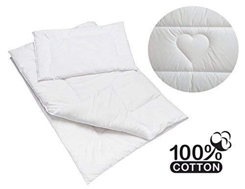 Gesteppte Luxus Bettdecke & Kissen Baby Füllung Set für Babybett oder Kinderwagen 100% Baumwolle -