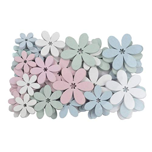 Holz Blumen - Tischdekoration - Streudeko - Frühling - Dekoration - Ostern - 1 VE = 48 Stück - ca.5.5 x 4 x 3 cm - Weiß - Rosa - Grün - Blau - AF630063-86