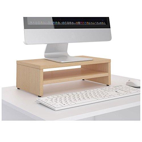 CARO-Möbel Monitorständer SUBIDA Bildschirmaufsatz Schreibtischaufsatz Bildschirmerhöhung mit Ablagefach, in buchefarben - 2