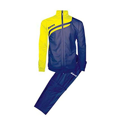 <span class='b_prefix'></span> Zeus TrackSuite Amilkare Man Woman Unisex Relax Running Jogging TrainingSuit RelaxSuit Jacket Trouser Football Soccer (BLUE YELLOW, XXL)