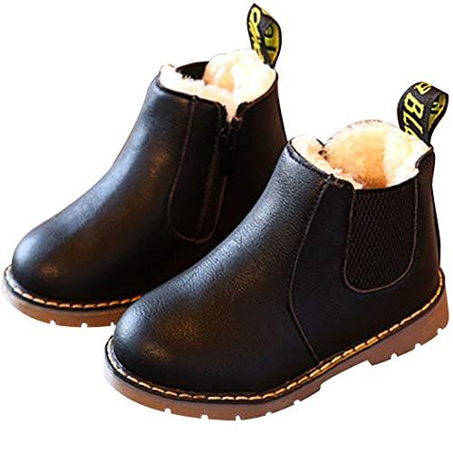 Nasonberg Jungen Mädchen Winter Leder Schneestiefel Warme weiche Winterschuhe Boots für Kinder Baby, Schwarz2, 28 EU=Innenlänge 16CM