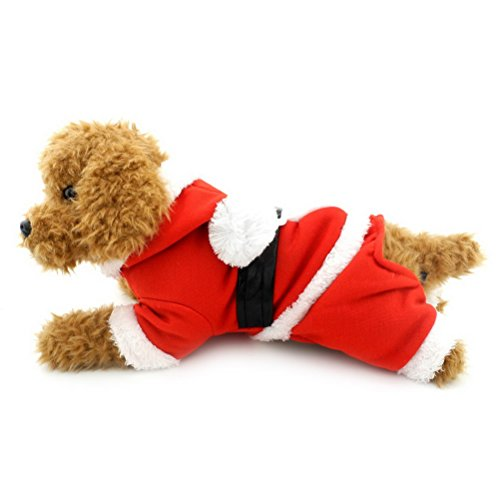 ZUNEA Kapuzen Weihnachtsmann Kleine Hund Weihnachten Kostüm Welpen Fleece Overall Haustier Wintermantel Jacke Doggy Warme Hoodie Chihuahua Kleidung Outfits XL