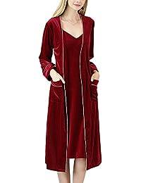 Set de 2 Piezas V Albornoz para Mujer Mañana Vestido Pijama Batas Kimonos Baño Casa