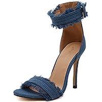 Zapatos de mujer de moda sandalias ultra altas de Europa y América zapatos de mujer con jeans, azul claro 38