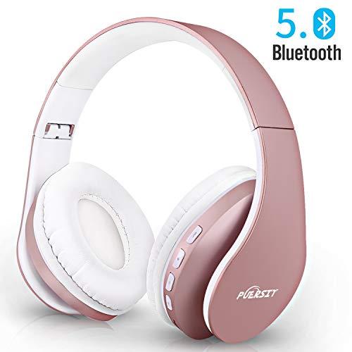 Casque Bluetooth sans Fil,Puersit Casque Audio Stéréo Pliable sans Fil et Filaire avec Micro intégré, Micro SD/TF, FM pour iPhone/Wiko/Samsung/iPad/PC (Or Rose)