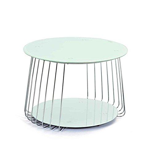 Paris Prix - Table Basse en Verre Raza 70cm Blanc