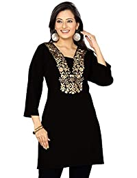 Dragaon-The Black Facade Short Women Tunic Top With Embroidery