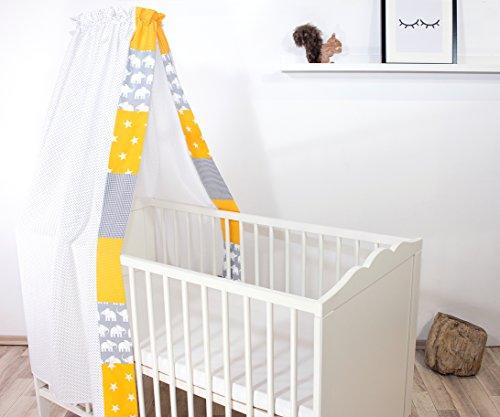 Ciel de lit pour bébé ULLENBOOM ® éléphant jaune (baldaquin 135 x 200 cm, coton, pour lit pour enfant de 60 x 120 cm et 70 x 140 cm, motif : étoiles, maritime)