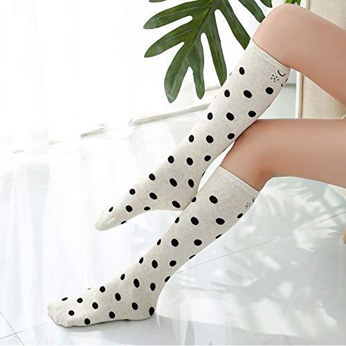Gwanna Damen Beinlinge Herbst Student Kinder in Rohr Socken niedlichen Polka Dot Cartoon gestreiftes Mädchen gestapelt Socken Japanisch (Farbe: Weiß) (Farbe : White) (Rohr Socken Gestreiften)