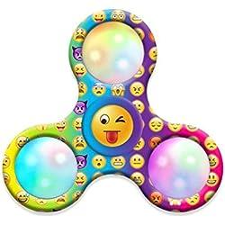 Saingace Emoji luz LED Fidget mano tri-spinner alivio de estrés Manipulative jugar juguete