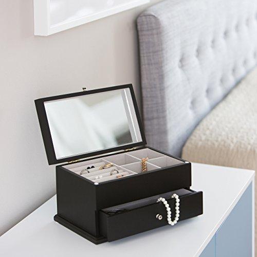 Relaxdays Schmuckkästchen mit großem Spiegel HBT: 15,5 x 28 x 16,5 cm Schmuckschatulle mit Schubfach für Ketten und Uhren Schmuckbox mit 4 Fächern und 5 Ringkissen Aufbewahrungsbox aus Holz, schwarz - 2