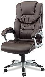 Amstyle Design Bürostuhl Madrid Bezug Kunstleder Schreibtischstuhl Design, X-XL 120 kg Chefsessel Wippfunktion ergonomisch Polster Drehstuhl hohe Rücken-Lehne höhenverstellbar, braun