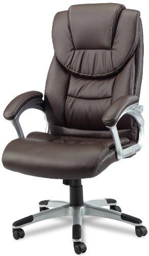 AMSTYLE Bürostuhl MADRID Bezug Kunstleder Braun Schreibtischstuhl Design X-XL 120 kg Chefsessel Wippfunktion ergonomisch Polster Drehstuhl hohe Rücken-Lehne höhenverstellbar mit Armlehnen Hochlehner
