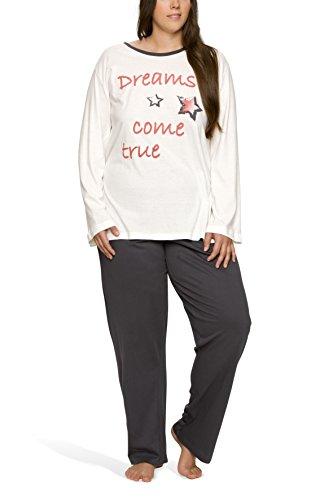 Moonline Damen Schlafanzug in großen Größen (Übergröße XL - 4XL) mit Motivdruck \'Dreams Come True Plus, Farbe:Offwhite, Größe:48/50