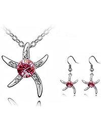 New Fashion Jewelry Sea Star Crystal Elements Pink