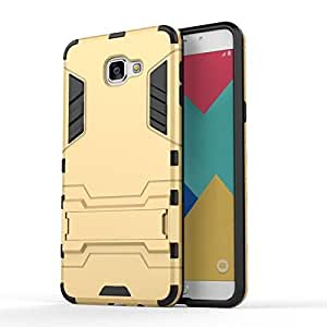 G-STAR Defender Tough Hybrid Armour Shockproof Hard PC + TPU with Kick Stand Rugged Back Case Cover for Samsung Galaxy A9 Pro - Gold