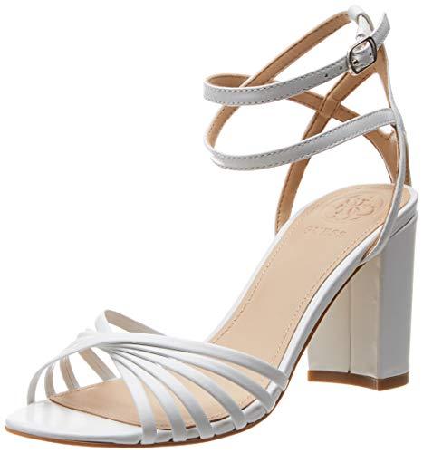 Guess Madesta (Sandal)/Leath, Scarpe con Cinturino alla Caviglia Donna, Bianco 37 EU