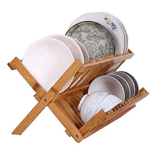 QNJM Bamboo Dish Wäscheständer Falten 2-Tier Drainer Dish Wäscheständer, Wäscheständer Ständer Halter Platten Cups Organizer (Cup Halter Falten)