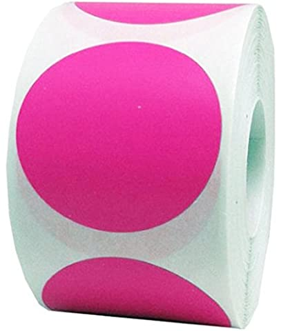 Tile & Sticker 2 Inch Round Fluorescent Pink Color Coding Dot Labels - 500 Colored Circle Stickers Per