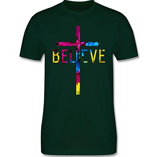 Statement Shirts - Believe Flowers - Herren Premium T-Shirt Dunkelgrün