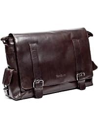FEYNSINN sac de messenger ASHTON - XL - sac à bandoulière approprié pour 15, iPad - besace vintage marron en cuir véritable (38 x 30 x 10 cm)