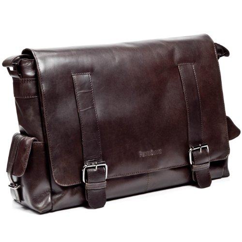 "FEYNSINN Messenger bag ASHTON - Umhängetasche XL fit für 15.4"" - Laptoptasche im Vintage-Look - echt Leder vintage-braun"
