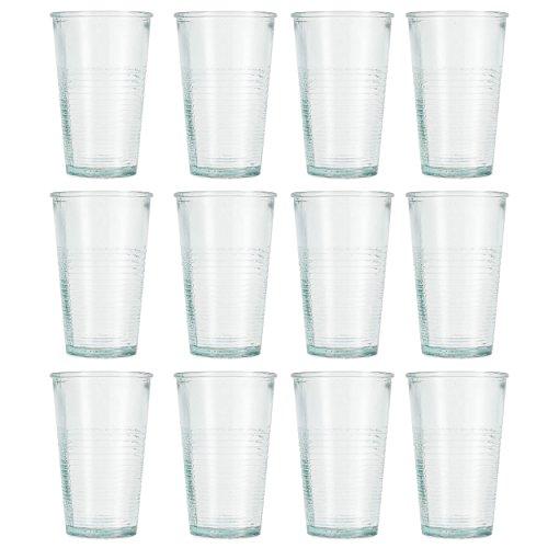 Jamie Oliver Highball Trinkglas 12x 250ml/266ml Echter recycelter Vintage Stil Grün Brise Hallo Ball Gläser-Set für Saft, Wasser trinken, Cordial & mehr Spülmaschinenfest Gläser Made in Spanien (9 Oz Hi-ball Glas)
