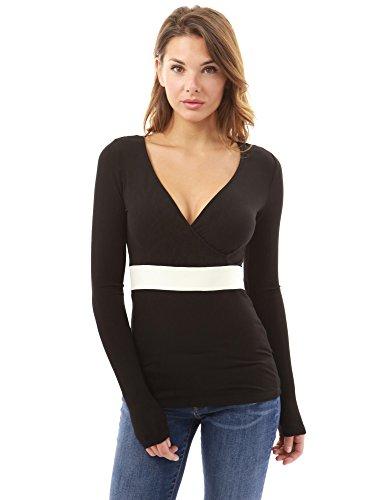 PattyBoutik Damen V-Ausschnitt Chiffon zurück Einsatz Bluse (schwarz und elfenbein 46/XL) (Inset-v-ausschnitt)