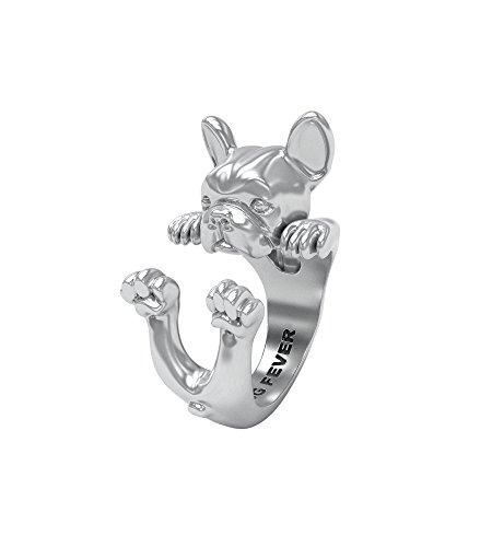 dog Fever Anillo Hug Bulldog francés de perro Bulldog silver ring