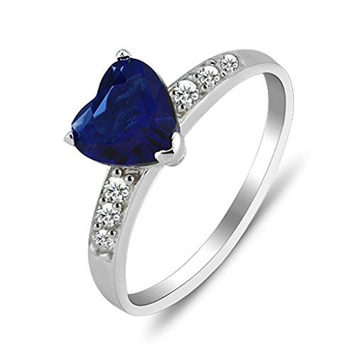 Bishilin Rund Simulated Blau Saphir(Lab Erstellt) und Weiß Cubic Zirkonia Herz Form S925 Silber Hochzeit Ringe Größe 54 (17.2)