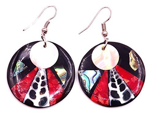 15 - Pendientes de nácar con concha artesanal, étnico, diseño étnico, color coral rojo