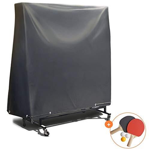 Abdeckung Abdeckplane Tischtennisplatte Schutzhülle Outdoor – mit extra PVC-Beschichtung & verklebten Nähten – Hülle für Tischtennis Wasser-resistent, UV-beständig & winterfest – 185*165*70 cm