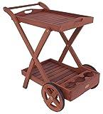 Hochwertiger Tee Wagen Beistell Tisch Ablage Rollen Tablett Eukalyptus FSC