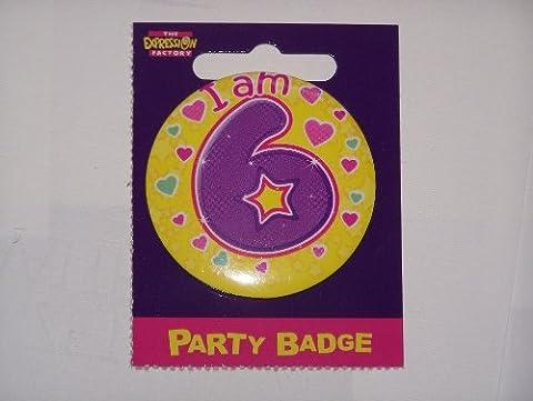 small birthday badge age 6 girl size 5.5cm
