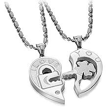 Coppie ciondolo collana titanio acciaio Lucchetto e Chiave a forma di cuore collane regali per (Peridot Forma Di Cuore Ciondolo)