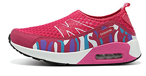NEWZCERS Mesdames été respirant fitness work out slip-on chaussures de camouflage plate-forme rose rouge