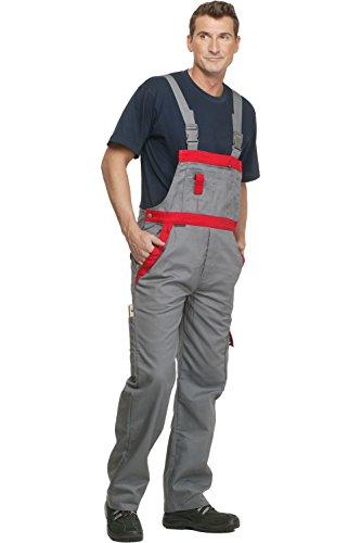 Charlie Barato L13704/56 Arbeitshose Sweat Life Latzhose für Handwerker, Grau/Rot, 56 cm