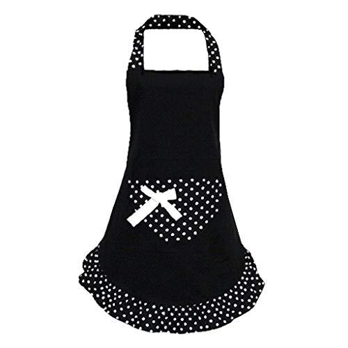 ODJOY-FAN Schürze mit Taschen für Damen,ölbeständig wasserdicht Küchenschürze Süß Mädchen Bowknot Lustig Schürzen Damen Küche Restaurant Schürze Apron (Schwarz,1 PC) - Fan Restaurant