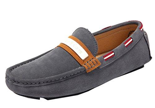 TDA ,  Herren Durchgängies Plateau Sandalen mit Keilabsatz Grau