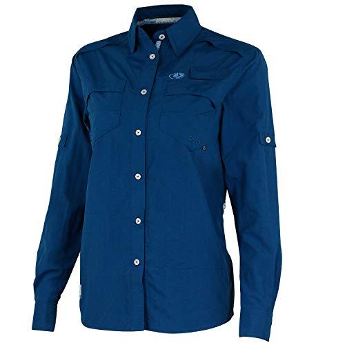 Mossy Oak Damen Women's Long Sleeve Performance Fishing Shirt Langärmelig, tiefseeblau, XX-Large -