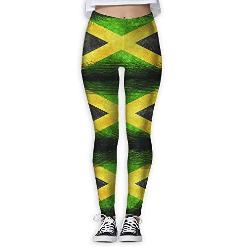 Deglogse Yogahosen, Trainingsgamaschen,Jamaica Flag Jamaican Print Full-Length Yoga Trousers for Women