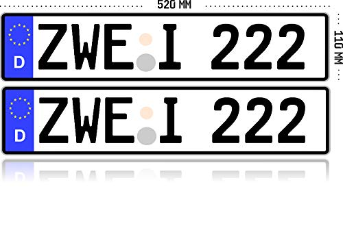 MBH-Shop KFZ-Kennzeichen EU 520 mm x 110 mm Autoschild mit Wunschkennzeichen (2 Stück)